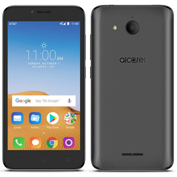front and back view of Alcatel Tetra HD phone