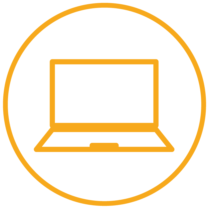 Laptop within circle