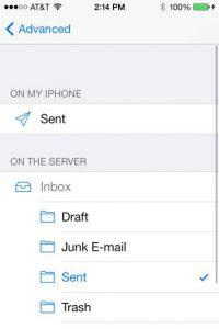 iOS email client - sent