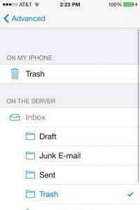 iOS email client - trash